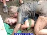Sexy Teen College Girls Mud Fighting 01