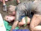 Sexy Teen College Girls Mud Fighting 01