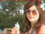 Joy 3D Cute Thai Girl In Anaglyph 3D Color Glasses