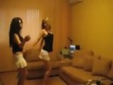 2 Teen Girls Dancing In Short Skirts