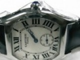 Cartier White Dial Roman Steel Bezel Black Leather Bracelet Oyst